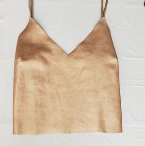 Kendall & Kylie Gold Faux Leather Crop Tank Top S